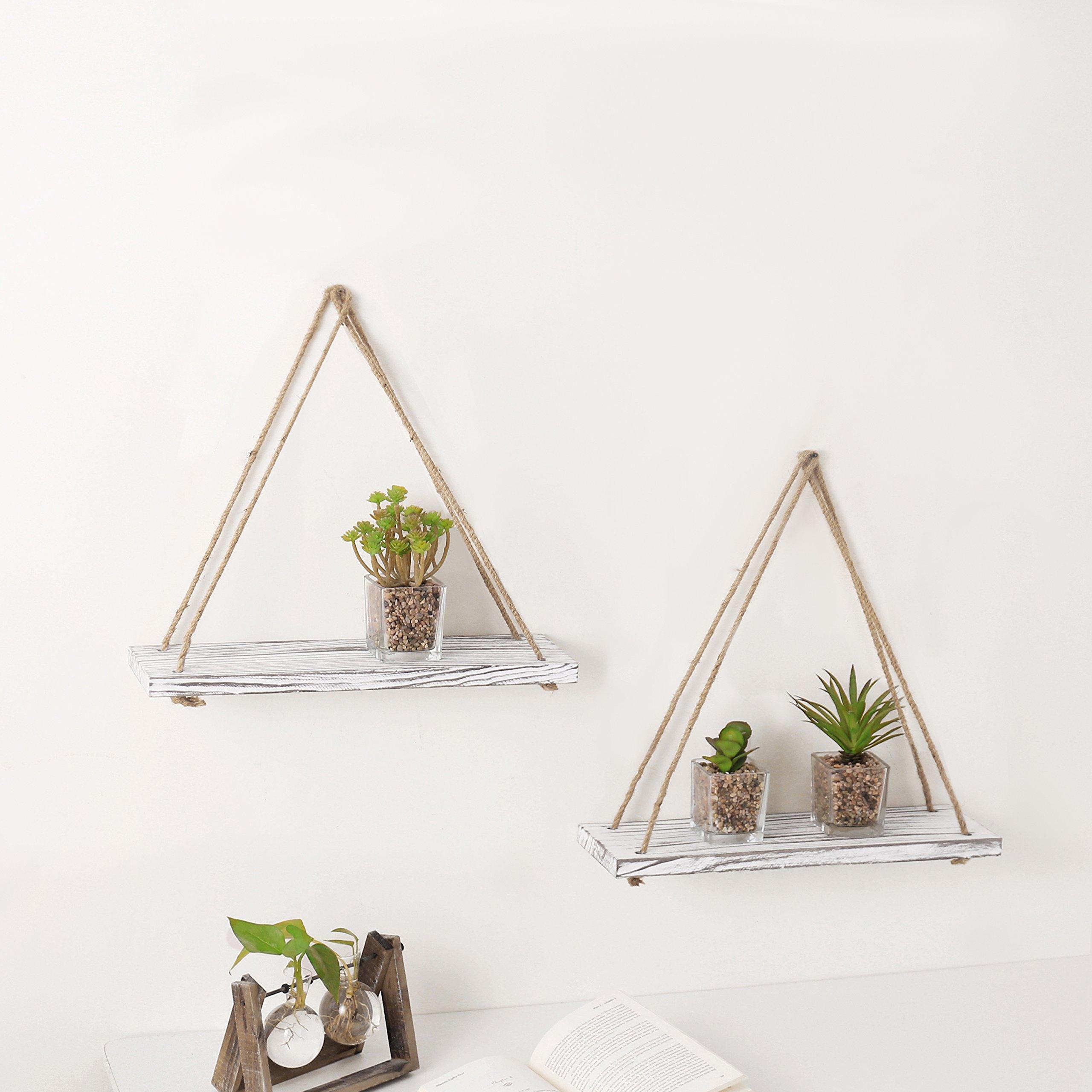 MyGift 17-inch Whitewashed Wood Hanging Rope Swing Shelves, Set of 2 by MyGift (Image #3)