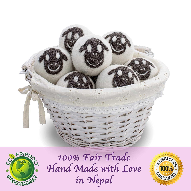 org/ánica Feria comercial Pack 6-100/% hecho a mano calidad FRIENDSHEEP bolas secador de lana org/ánica Eco sin pelusa