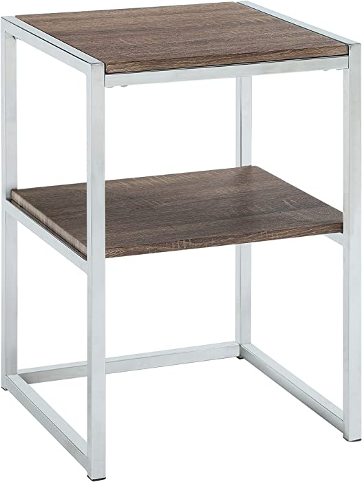 Abington Lane - Contemporary Square End Table - Employs a Fashionable Chrome Frame - Two-Tiered for Storage - Perfect for Living Room or Office - (Faded Hickory Finish)