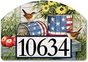 Yard Design Studio M Patriotic Planters Decorative Address Marker Yard Sign Magnet, Made in USA, Superior Weather Durability, 14 x 10 Inches