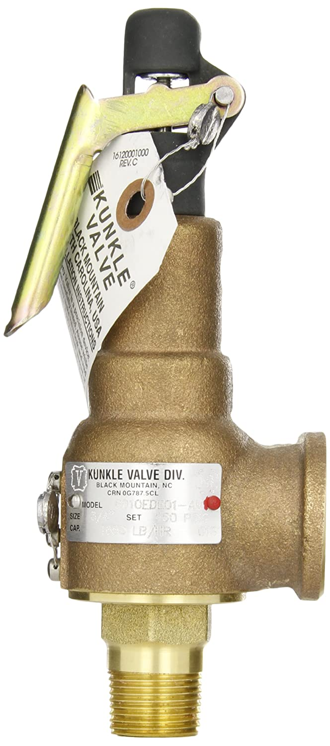 Kunkle 6010EDE01-AM0150 Bronze ASME Safety Relief Valve for Steam 3//4 NPT Male Inlet x 1 NPT Female Outlet 150 Preset Pressure EPR Soft Seat