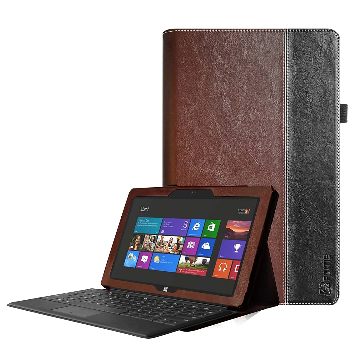 [Corner Protection] Fintie Folio Case for Microsoft Surface RT / Surface 2 10.6 inch Tablet Slim Fit with Stylus Holder (Does Not Fit Windows 8 Pro Version) - Brown/Black LYSB00OAOASCM-ELECTRNCS