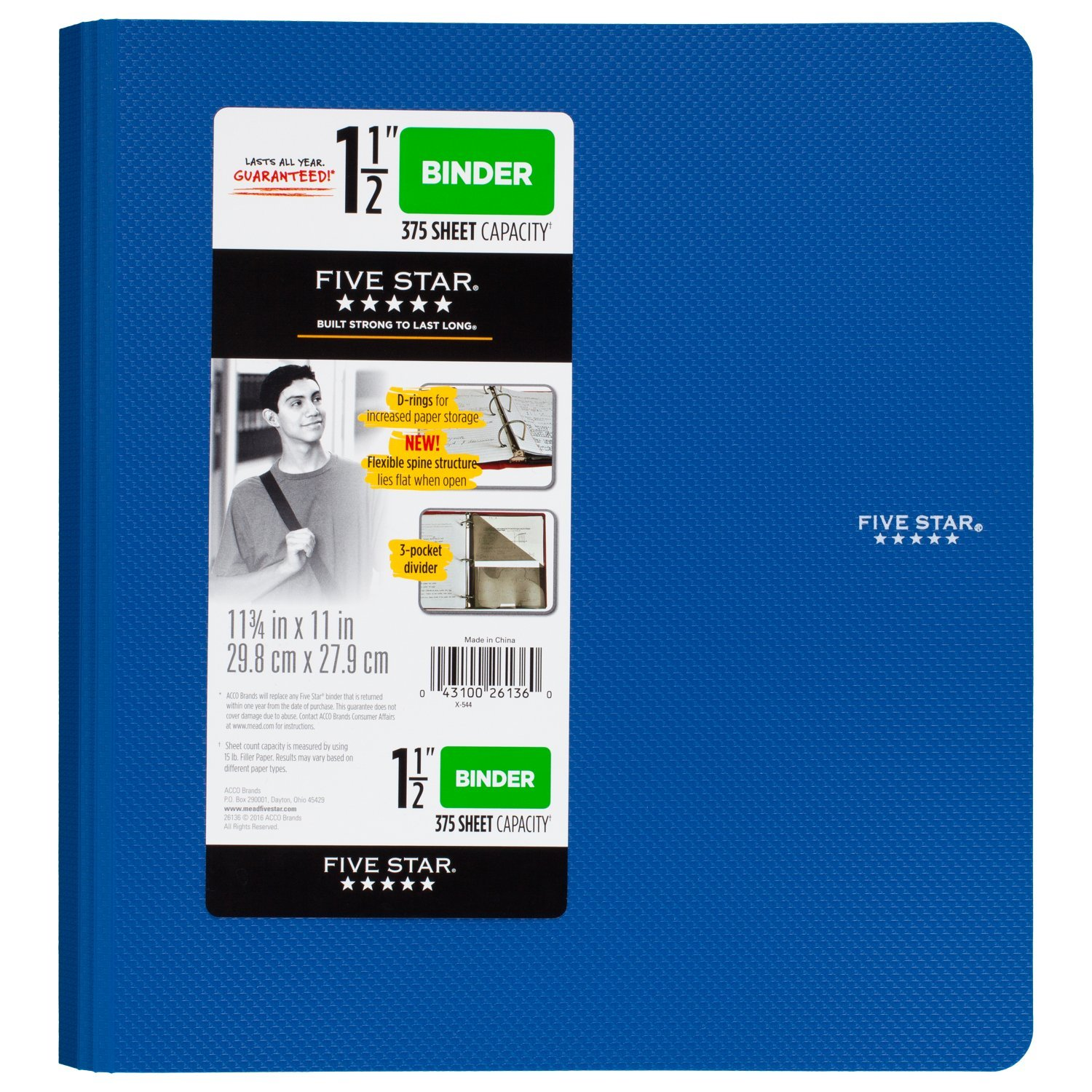 Five Star 1-1/2 inch 3 Ring Binder, Plastic, Blue (38914) by Five Star (Image #1)