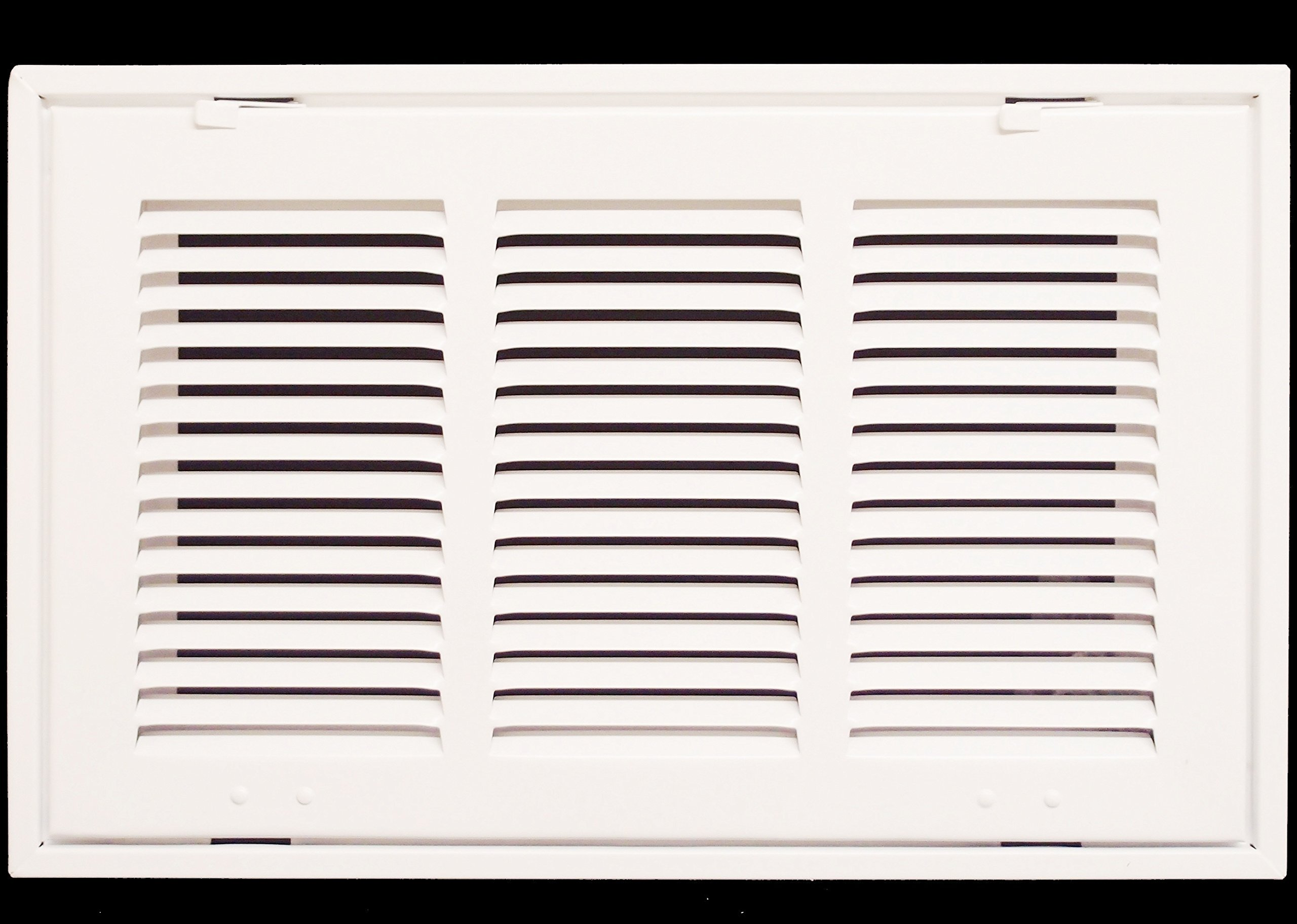 14'' X 8 Steel Return Air Filter Grille for 1'' Filter - Removable Face/Door - HVAC DUCT COVER - Flat Stamped Face - White [Outer Dimensions: 16.5''w X 10.5''h]