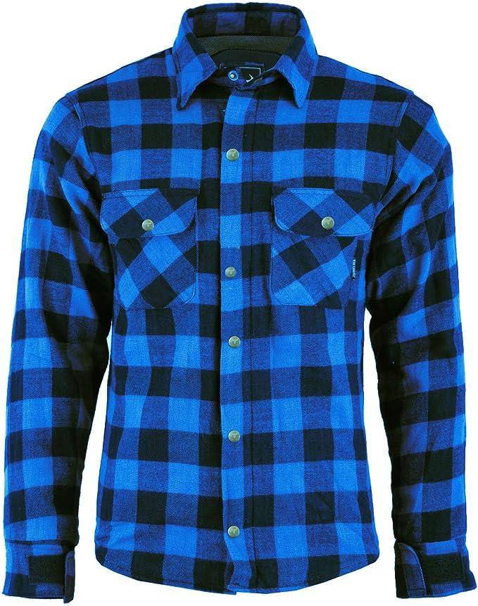 Camisa de motorista para hombre con diseño de leñador de Bulldt, con protectores azul azul 56: Amazon.es: Coche y moto