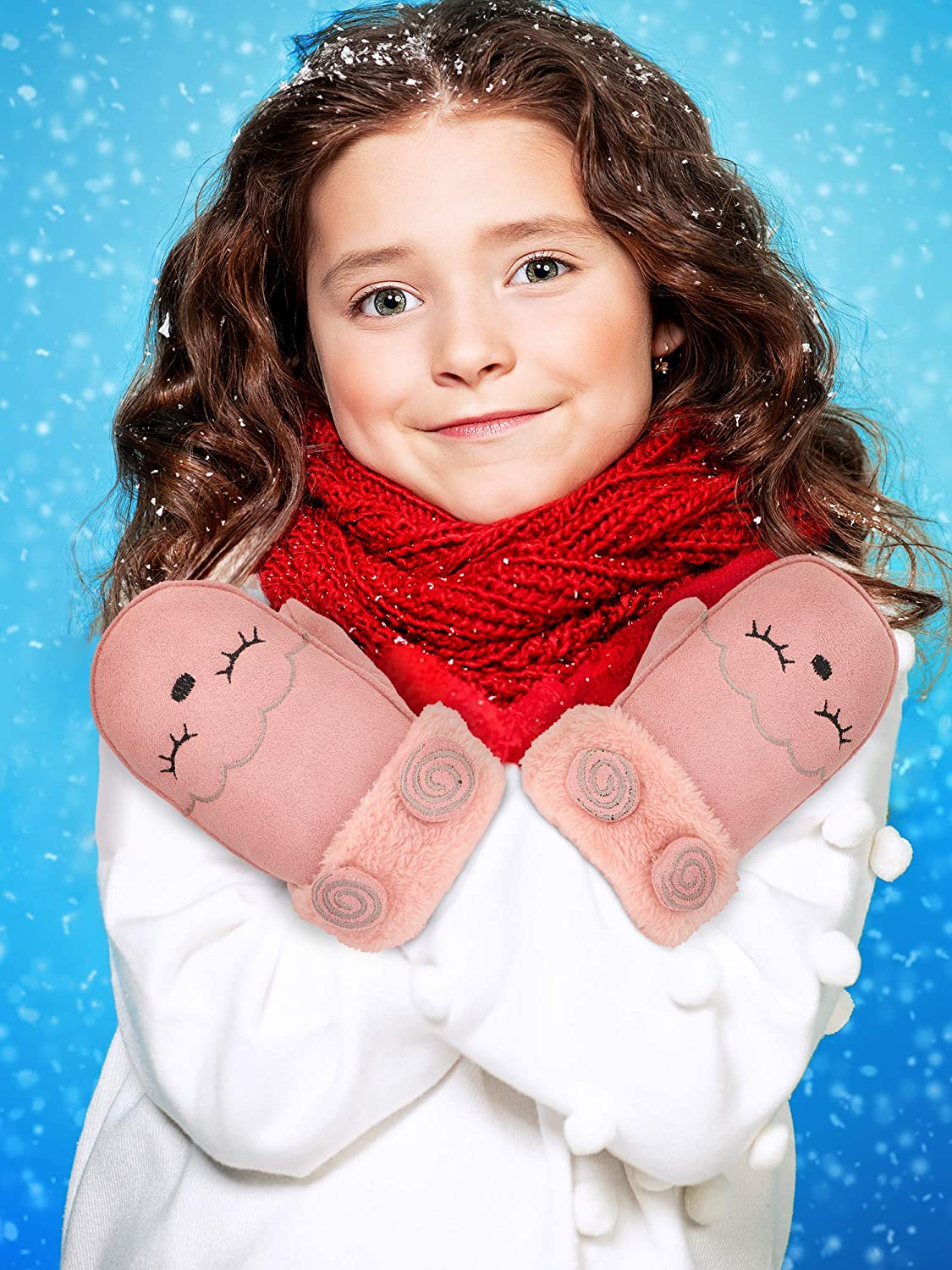 2 Pairs Kids Cute Winter Warm Mittens Faux Suede Mittens Thick Fleece Lined Gloves with String