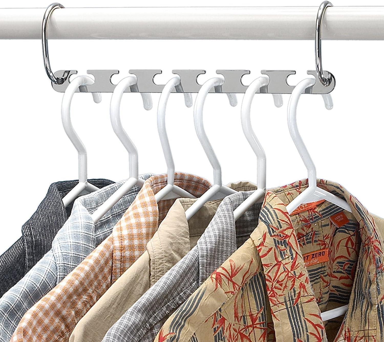 perchas colgantes organizador de armario m/ágico pack de 6 unidades Perchas de metal para ropa