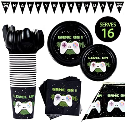 BleuZoo Video Game Party Supplies - Gamer Birthday Set Decorations Decor Gaming Theme Pack - Includes: Big and Small Plates, Tablecloth, Banner, Napkins, Cups, Forks, Knives, Spoons (Serves 16): Toys & Games