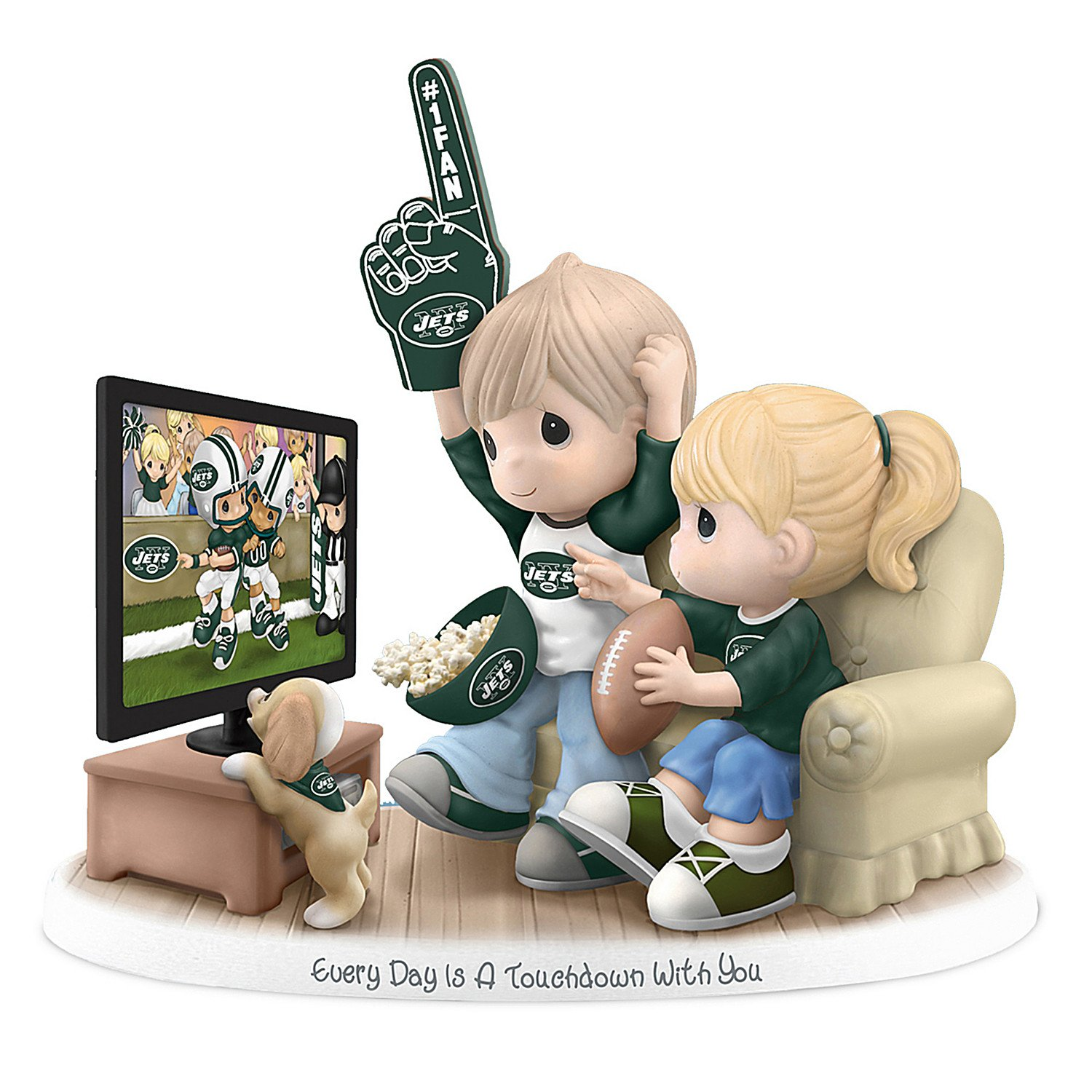 Figurine: Precious Moments Every Day Is A Touchdown With You Jets Figurine by The Hamilton Collection