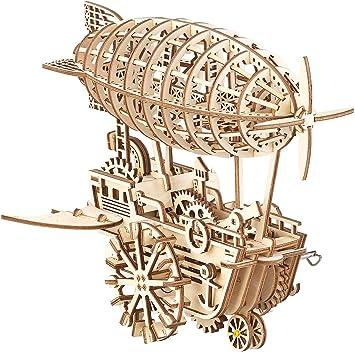 Simulus Holzpuzzle Aufziehbares Holz Luftschiff Im Steampunk Stil 349 Teiliger Bausatz 3d Holzpuzzle Amazon De Spielzeug