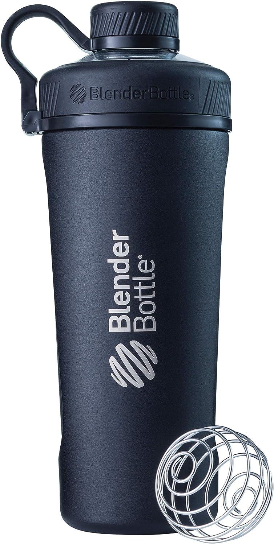 BlenderBottle Radian de acero inoxidable | Botella de agua | Botella mezcladora de batidos de proteínas | con batidor Blenderball | libre de BPA | Negro - 770ml
