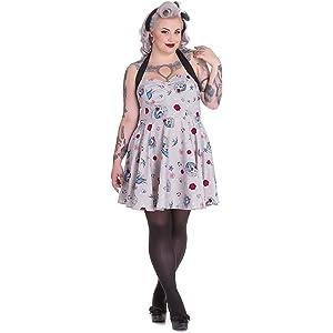 27ea80c7586 Hell Bunny Plus Size Gothic Rockabilly DOD Unicorn Skull Zoey Mini Halter  Dress