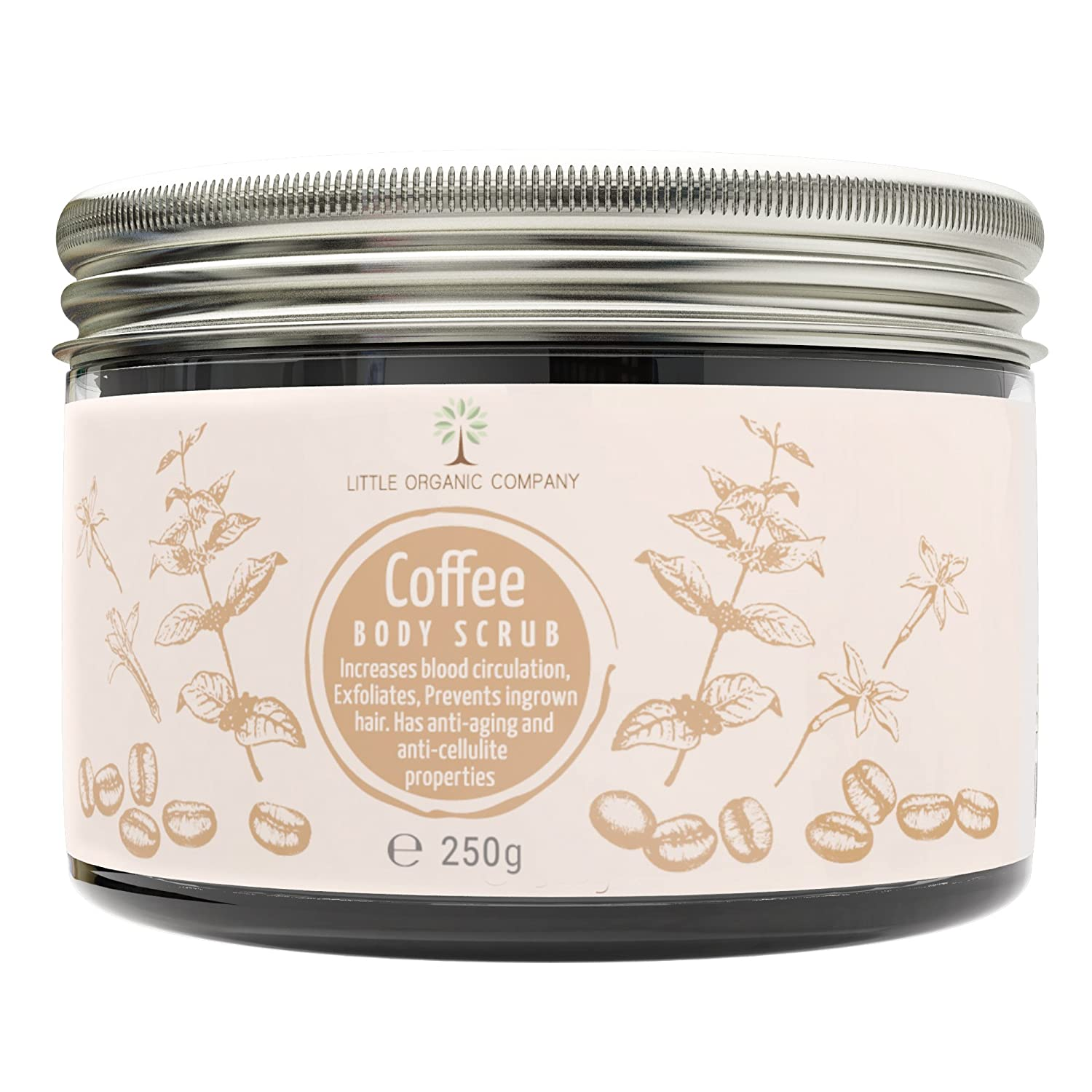 Coffee Body Scrub - Organic, 100% Natural, Vegan, Cruelty Free, No Microbeads - Exfoliating, Anti-Aging, Anti-Cellulite, Increases Blood Circulation, Prevents Ingrown Hairs, Promotes Skin Cell Growth Little Organic Company
