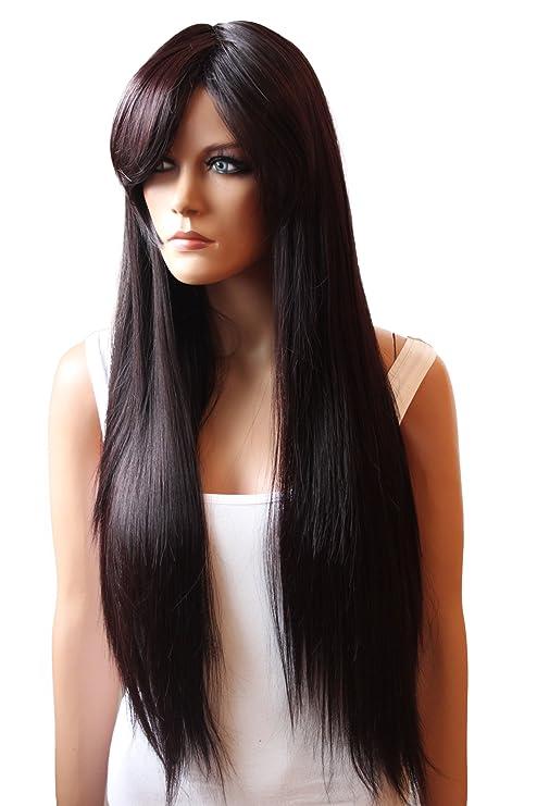 PRETTYSHOP Peluca unisexo de pelo largo y liso voluminoso de pelo sintético resistente al calor