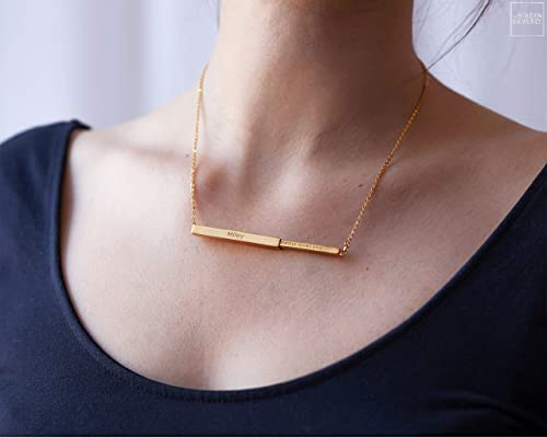Friendship Necklace Friend Necklace Birthday Necklace,Hand stamped Necklace Message Necklace Name Necklace NB880 Rose Gold Bar Necklace