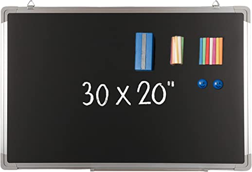 Amazon Com Chalkboard Set Black Board 30 X 20 1 Magnetic Chalk Eraser 14 Chalk Sticks 7 Colors And 2 Magnets Large Message Hanging Blackboard With Sturdy Frame For Wall Home School 30x20 Landscape Office Products