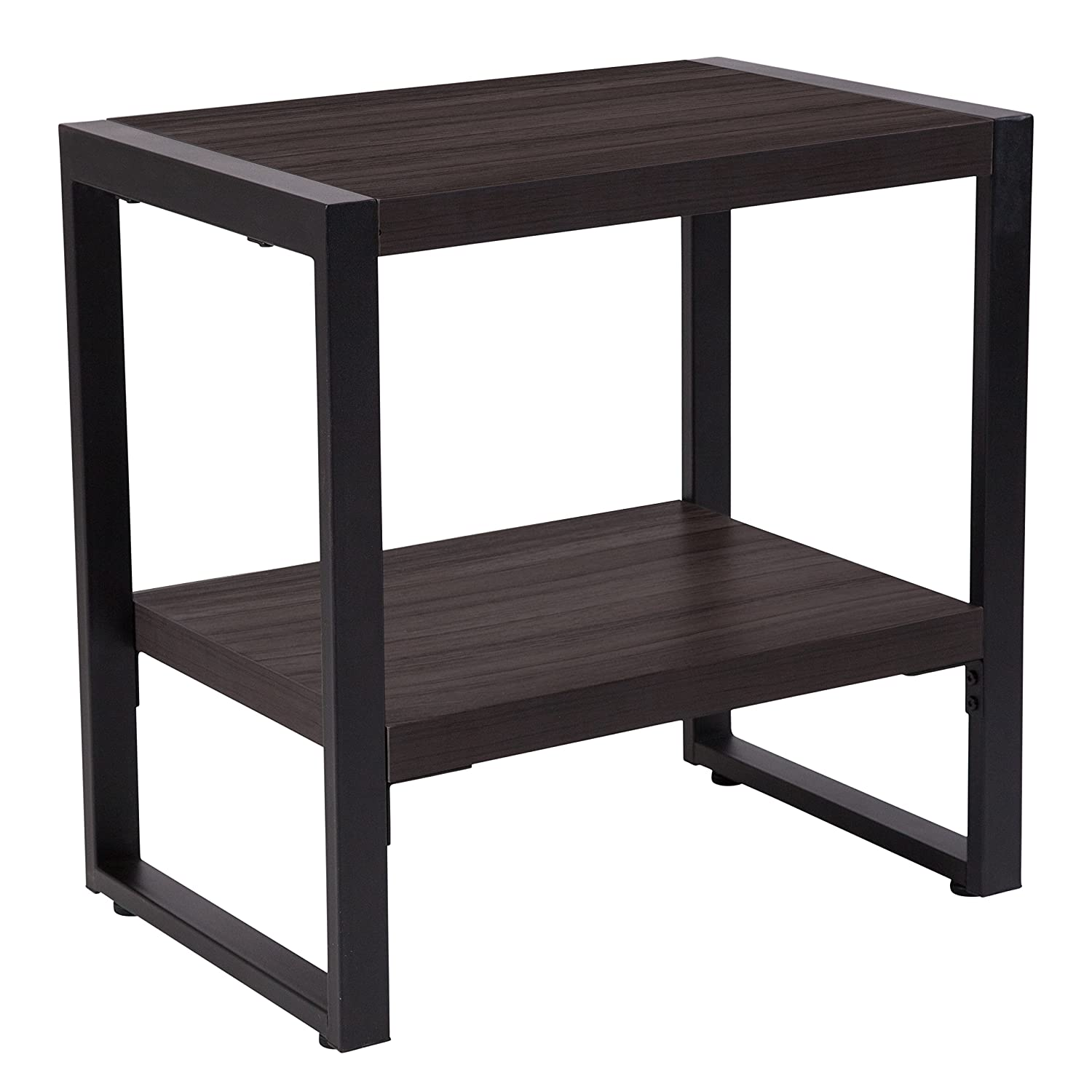 Flash Furniture Thompson Collection Charcoal Wood Grain Finish End Table with Black Metal Frame