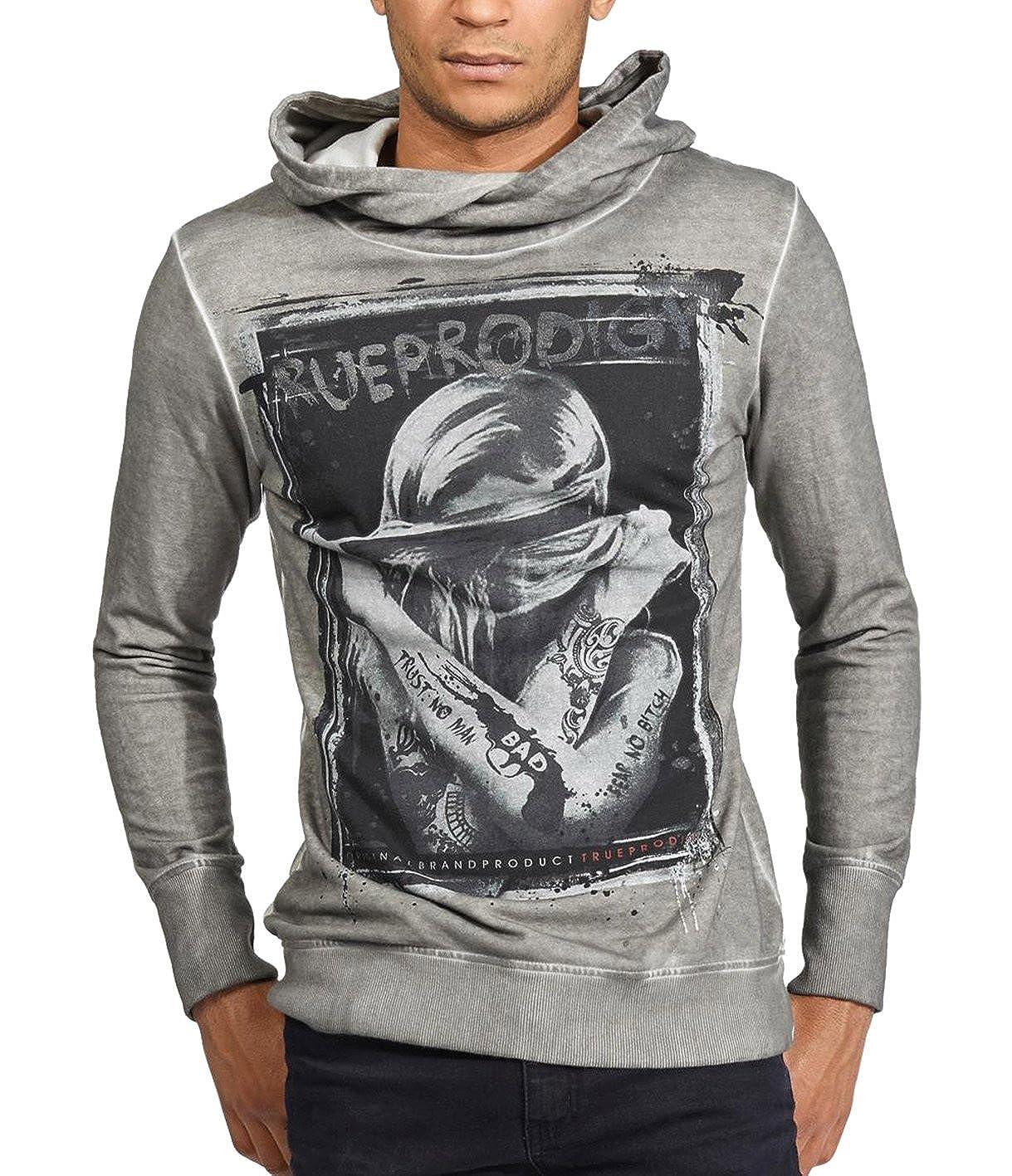 trueprodigy Casual Herren Marken Sweatshirt Aufdruck Oberteil Cool Stylisch Kapuze Langarm Slim Fit Hoodie M/änner Bedruckt