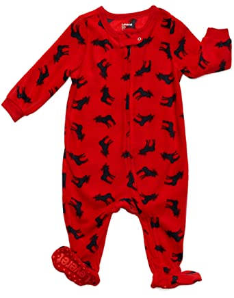 leveret fleece baby boys girls footed pajamas sleeper christmas pjs moose 2 toddler