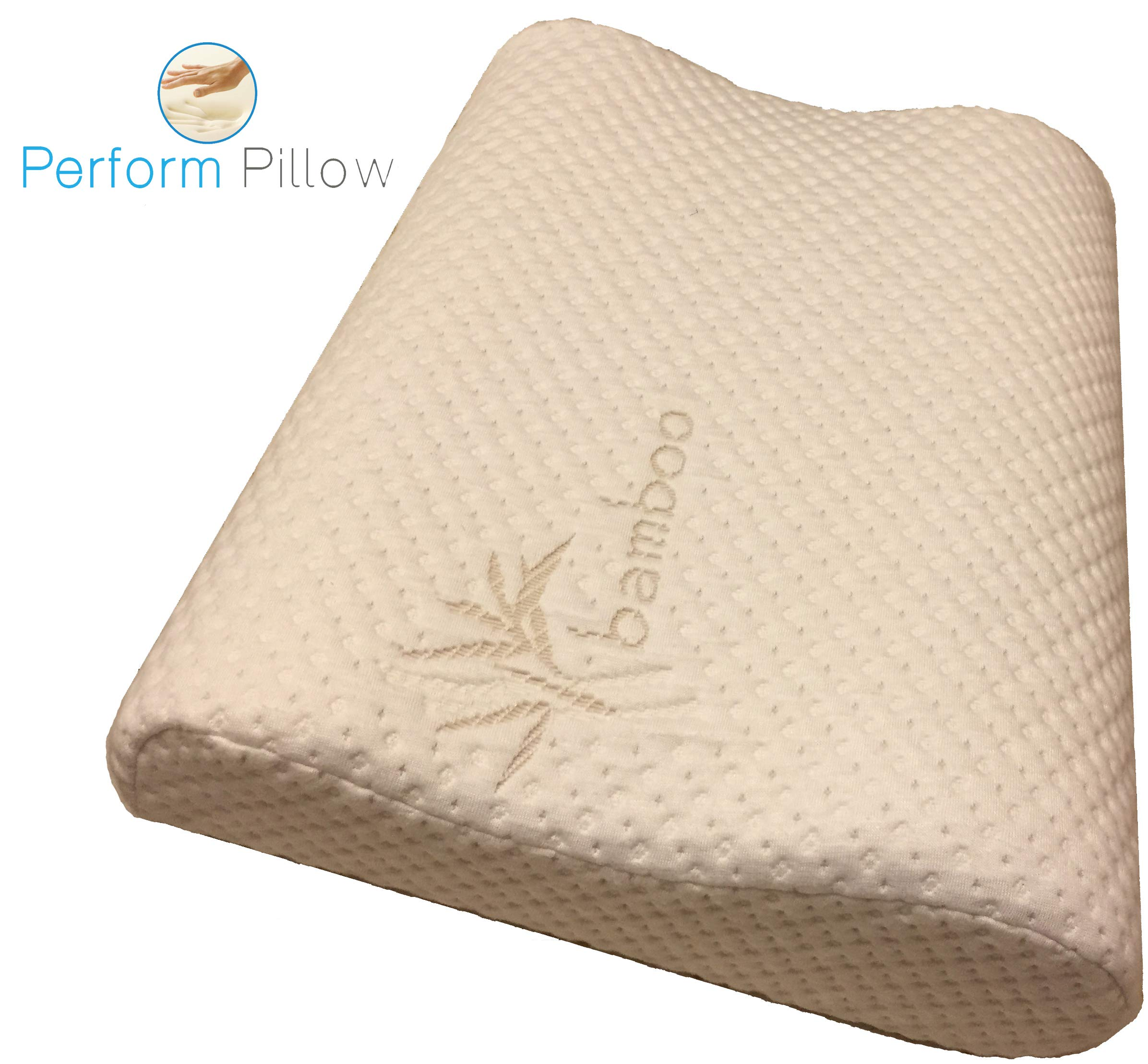 Medium Profile Memory Foam Neck Pillow - Double Contour - Chiropractor Approved - Washable Soft Bamboo Cover - Great for Neck Pain, Sleeping (Medium)