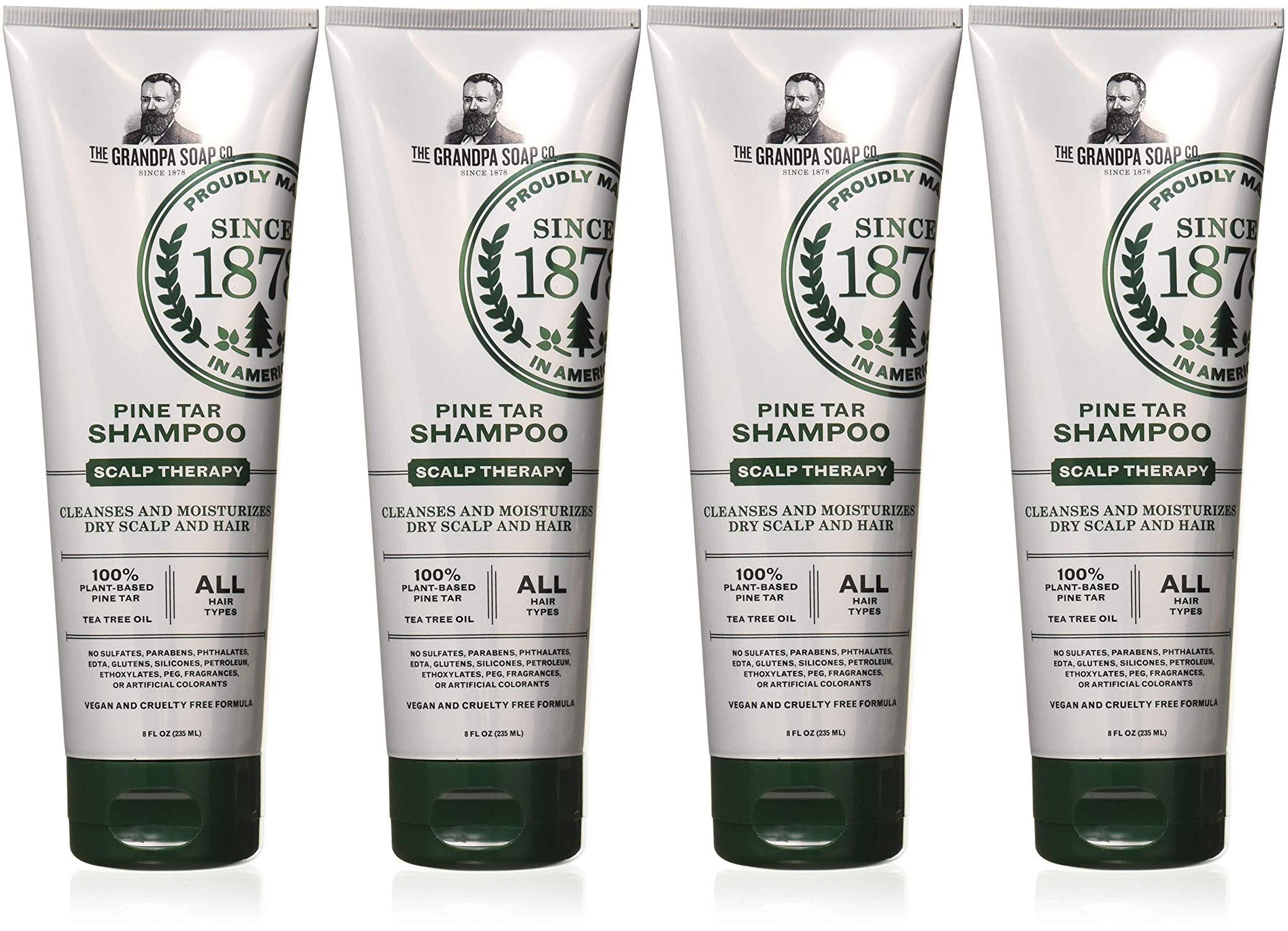 Grandpas Pine Tar Shampoo - Remove Flakes of Dandruff, Seborrhea and Psoriasis - 8 fl oz (Pack of 4) by Grandpa's
