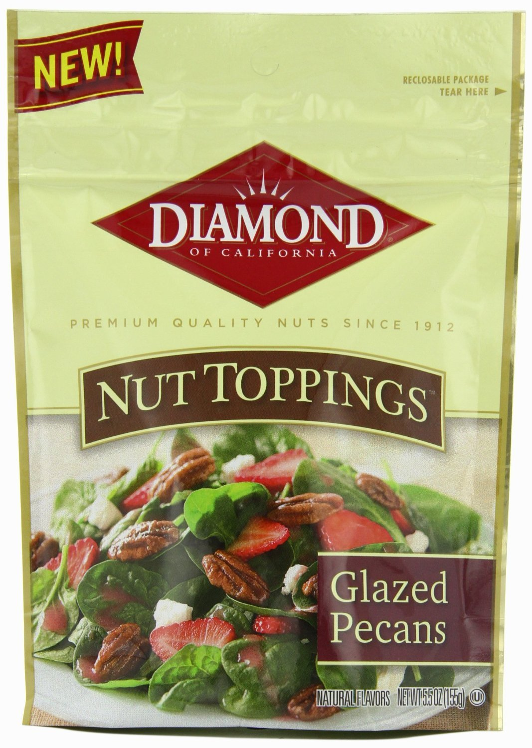 Diamond of California, Nut Toppings, Glazed Pecans, 5.5oz Pouch (Pack of 3)