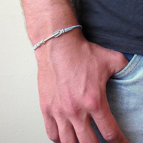Amazon Com Mens Silver Plated Arrow Cord Bracelet Customize Color