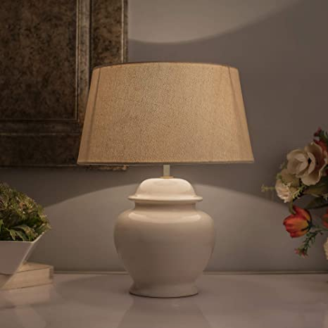 Marvelous Homesake Ceramic Pot Shaped Base White Table Lamp With Shade Led Bulb Khadi Download Free Architecture Designs Lukepmadebymaigaardcom