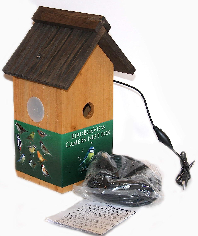 Birdboxview Webcam para PC o portátil, en Caja Nido de Madera con Techo en Forma de V y Cables de 11, 5 m (artículo Incluye Cable de extensión de 10 m) Regalo