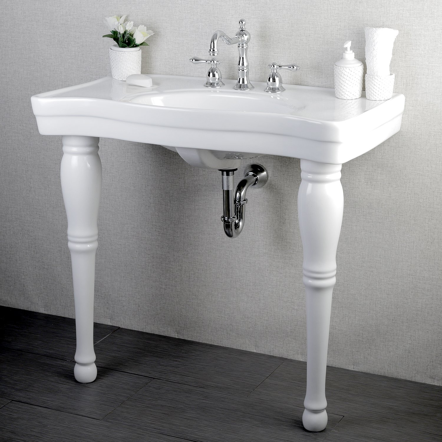 Console sink with chrome legs - Kingston Brass Vpb1368 Designer Fauceture Imperial Console Sink Vitreous China With 8 Inch Centers White Pedestal Sinks Amazon Com