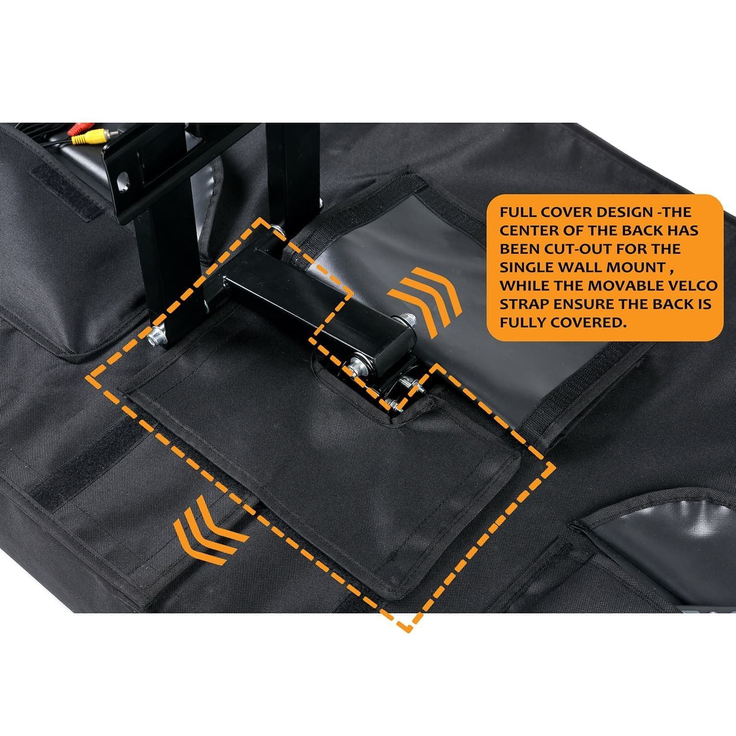Outdoor TV Cover 52'' - 55'' - Fully Covered - Black - Weatherproof and Dust-Proof PVC Coated Oxford Fabric - Built to Last by Towber (Image #2)