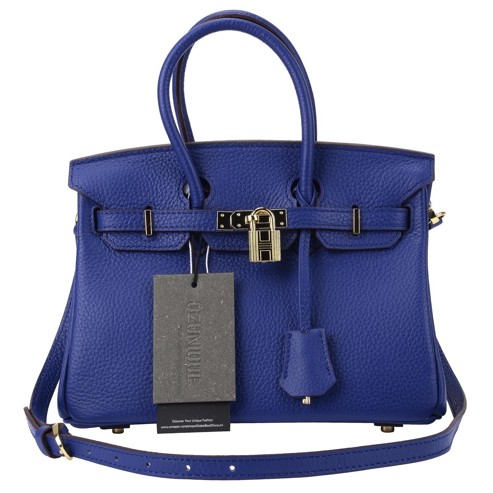 QZUnique Women's Cowhide Genuine Leather Fashion Zipper Buckle Belt Metalic Top Handle Bag Dazzling Blue 35cm