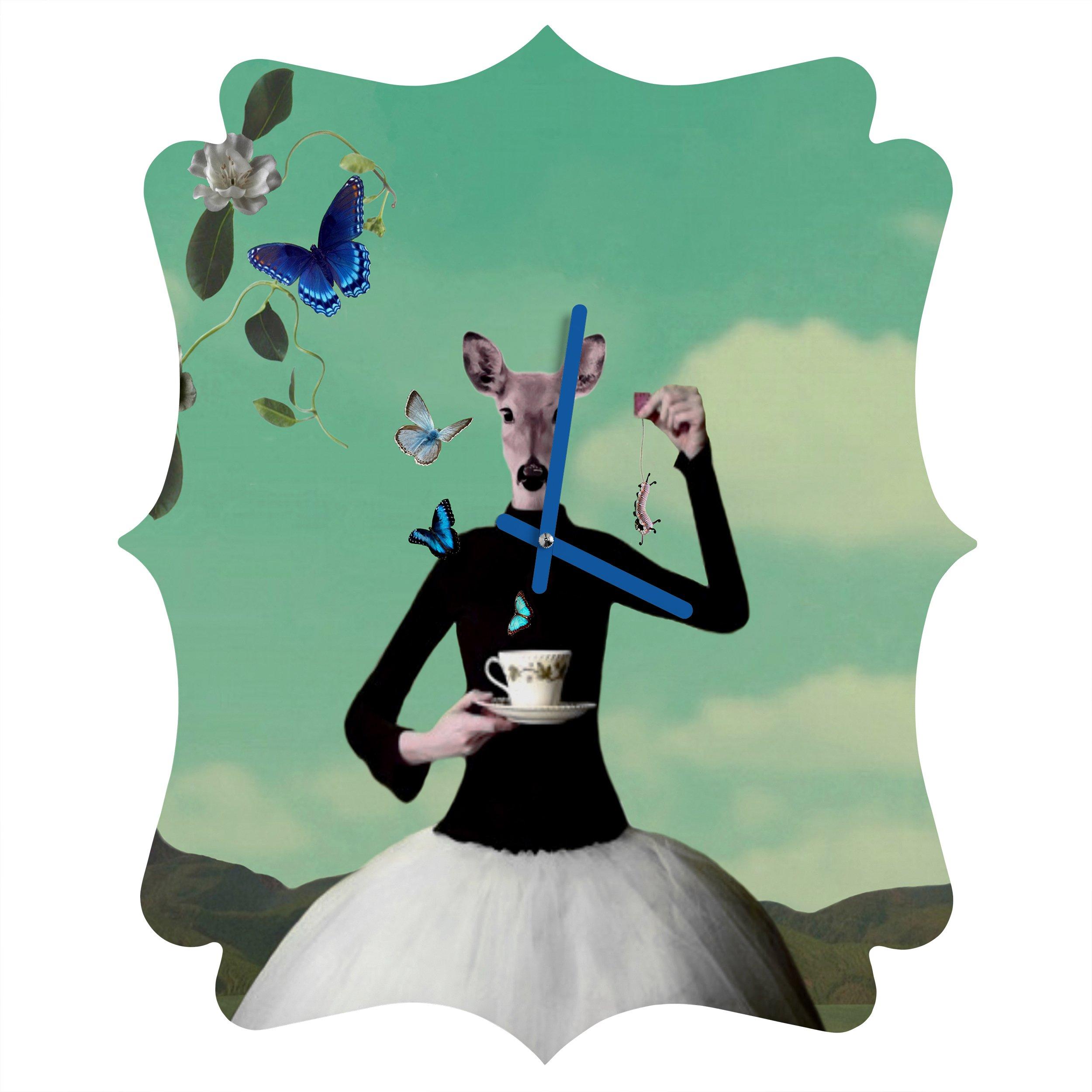 Deny Designs Natt, Butterfly Tea, Quatrefoil Clock, Medium