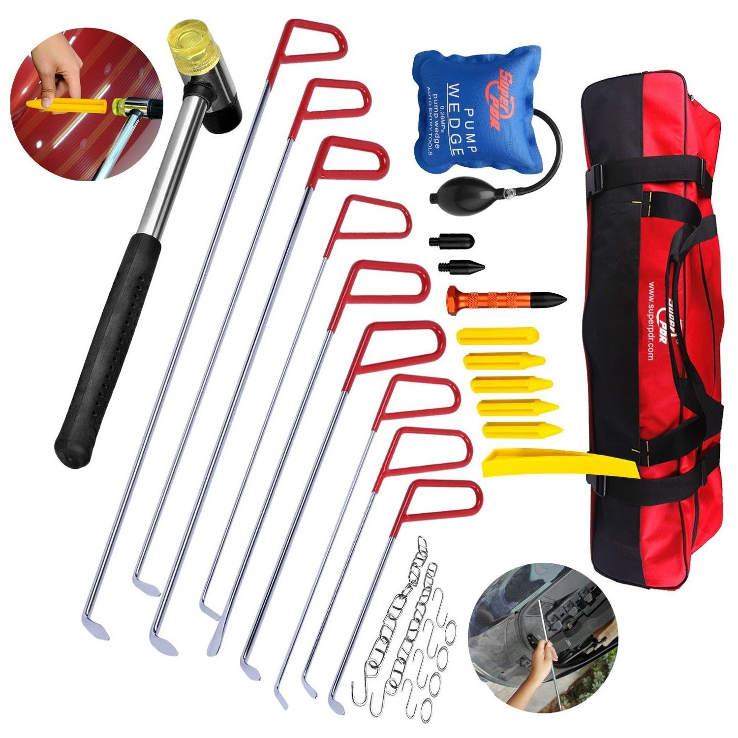 31Pcs PDR Rods Dent Puller Kits AUTOPDR Pop a Dent Auto Car Body Paintless Dent Removal Remover Repair Tools Automobile Master Hail Damage Hand Tools Door Ding Air Wedge Pump Hammer with Tool Bag