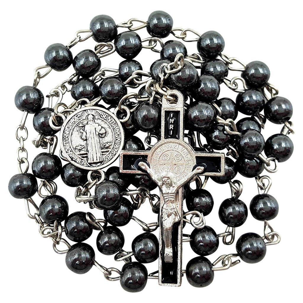 BLESSED CATHOLIC ROSARY NECKLACE Black Hematite Beads Saint Benedict Medal & Cross Crucifix in Gift Box Holy Land Collection UK_B06XRZ3VV3