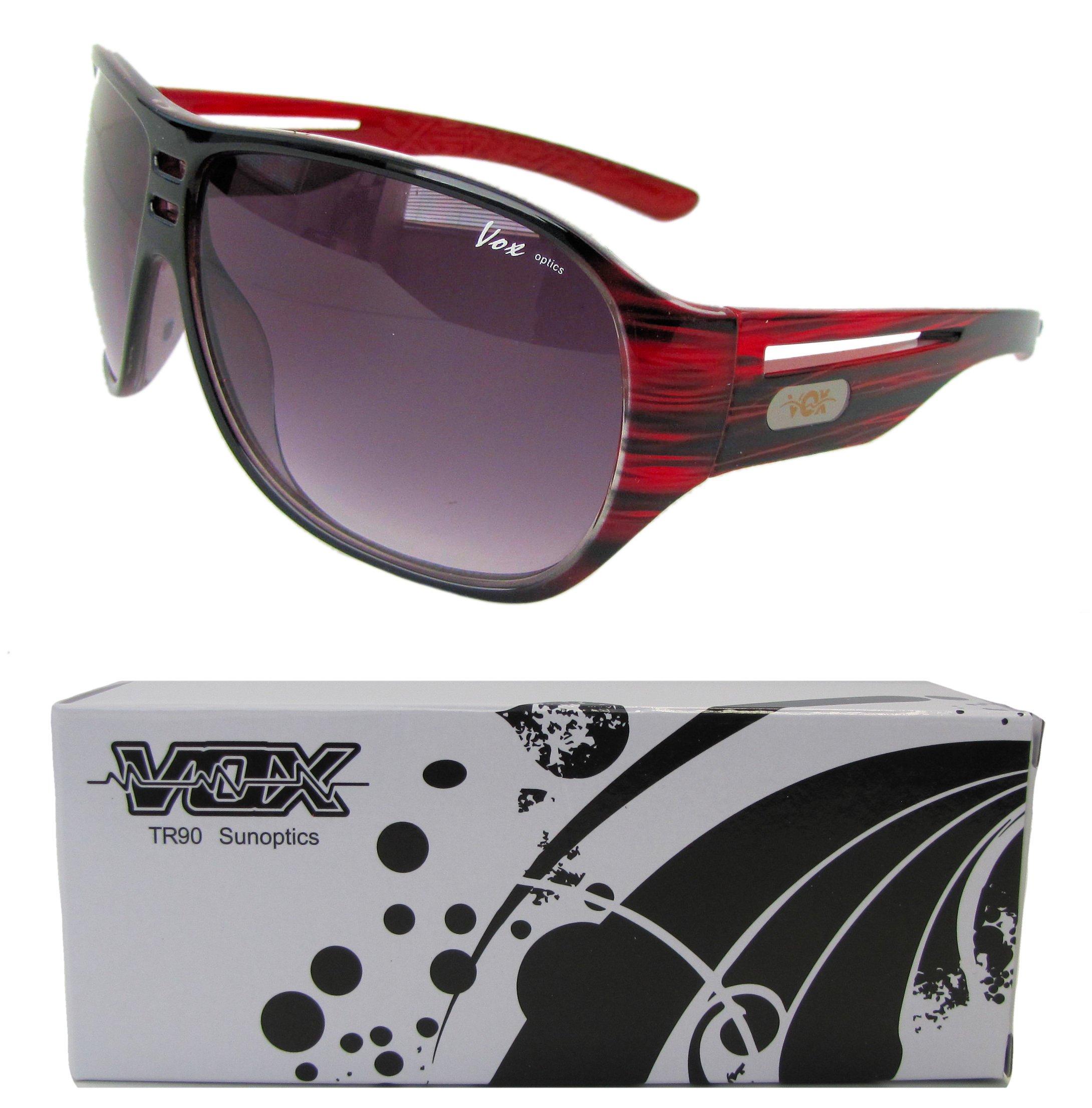Vox TR90 Sunglasses Sport Aviator Designer Eyewear Fashion Unbreakable - Red & Black Frame - Smoke Lens