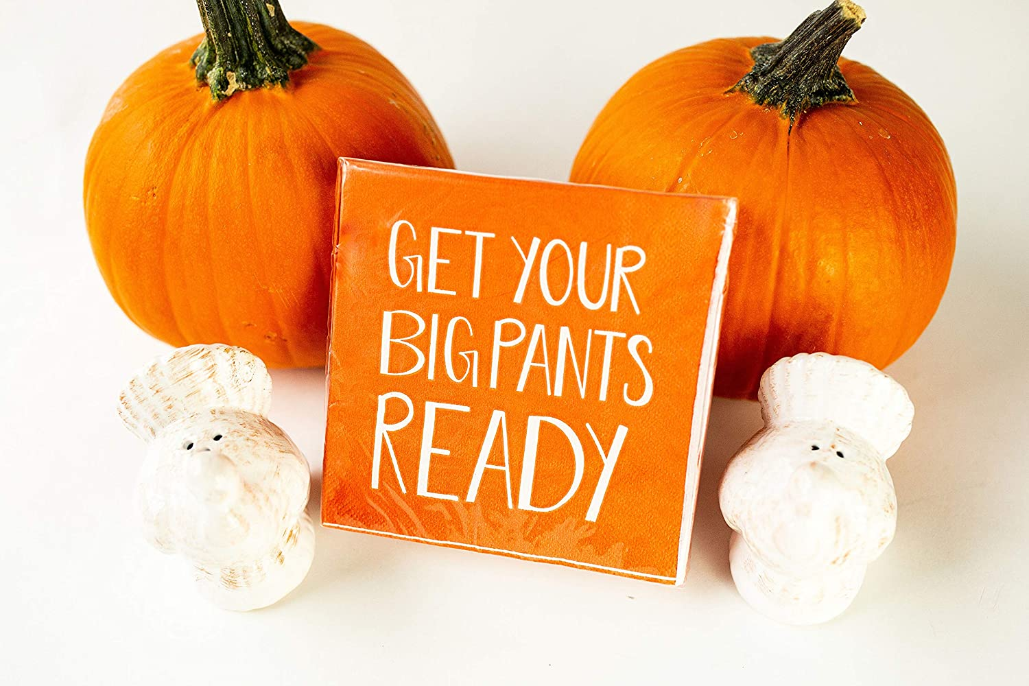 Turkey Salt /& Pepper Shakers with Get Your Big Pants Ready Table Napkins