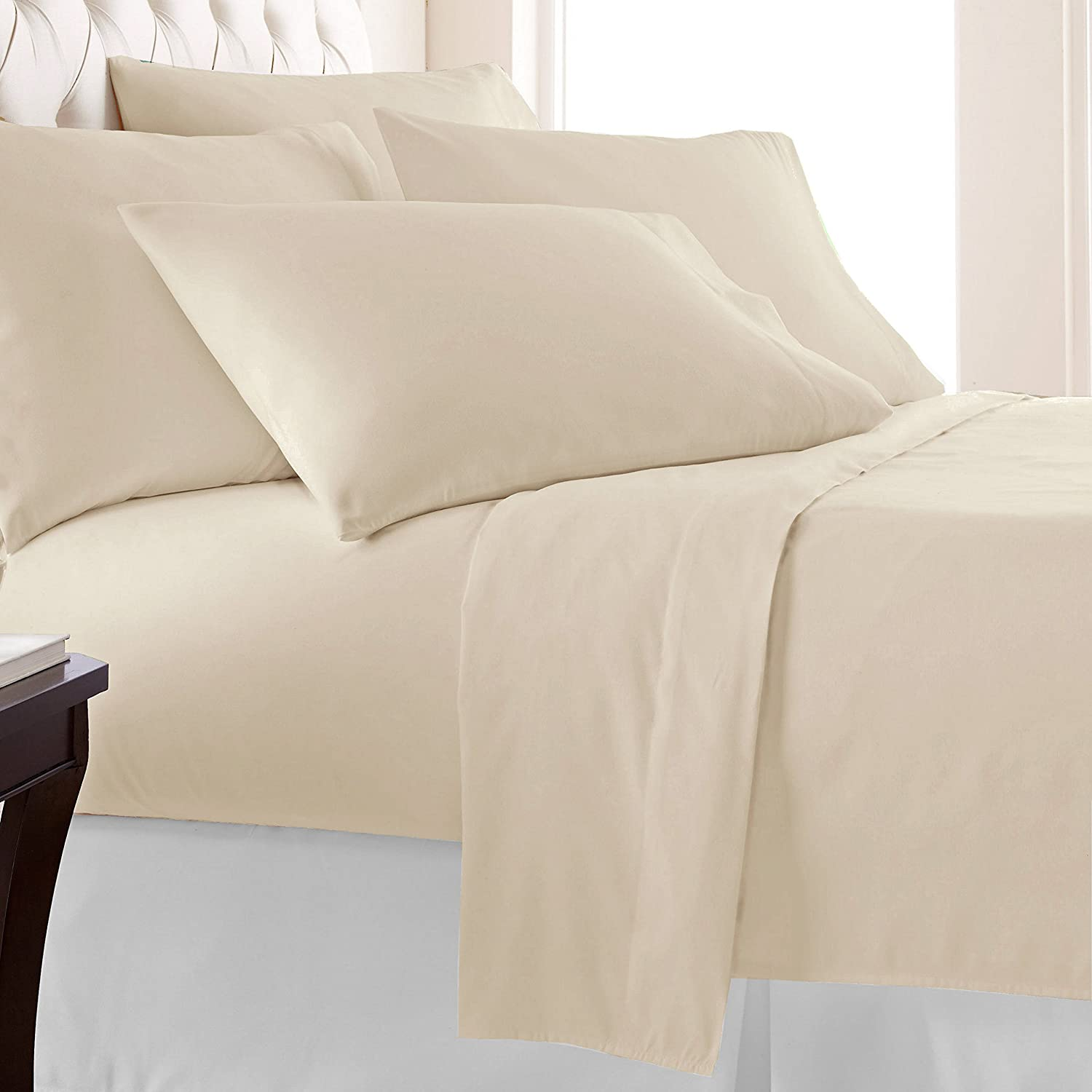 100% Long-staple Cotton Beige Queen Sheets
