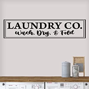 Vinyl Quote Me Laundry Room Wall Decor Decal Sticker   Laundry Co Wash Dry Fold Decals   Laundry Room Wall Sticker   Laundry Room Wall Decor   33x7.5-Black