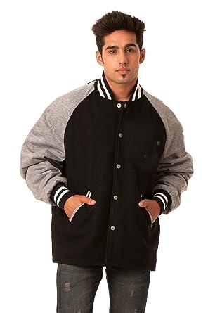 Caliber India Gray Raglan Sleeves Black Full Wool Open Bottom