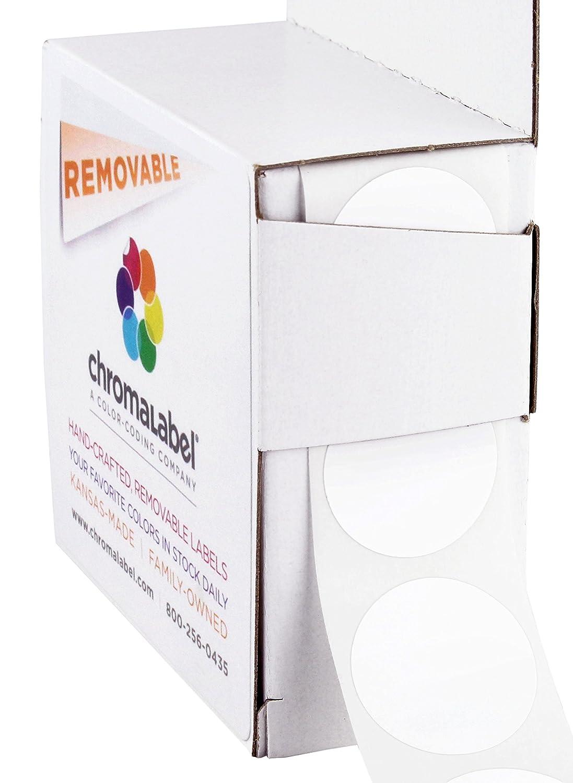 ChromaLabel 1 Inch Round Removable Color-Code Dot Stickers, 1000 per Dispenser Box, White