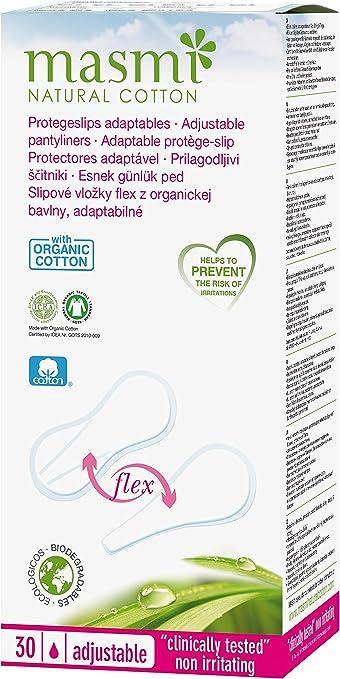 30 x masmi adaptable Flexi Panties algodón orgánico (para Slip, Bikini, Tanga, Tanga, Tanga). Certificado, hipoalergénico, biodegradable, perfume, cloro y libre de la dioxina: Amazon.es: Salud y cuidado personal