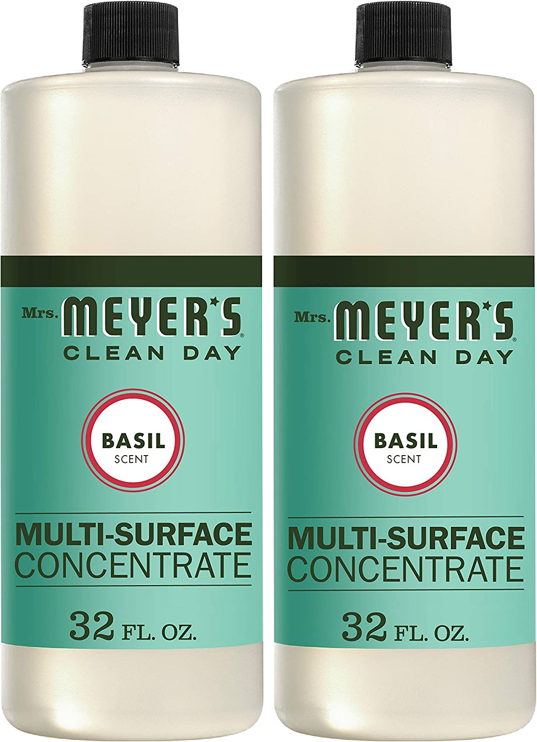 Amazon Com Mrs Meyer S Clean Day Multi Surface Cleaner Concentrate Use To Clean Floors Tile Counters Basil Scent 32 Oz Pack Of 2 Health Personal Care
