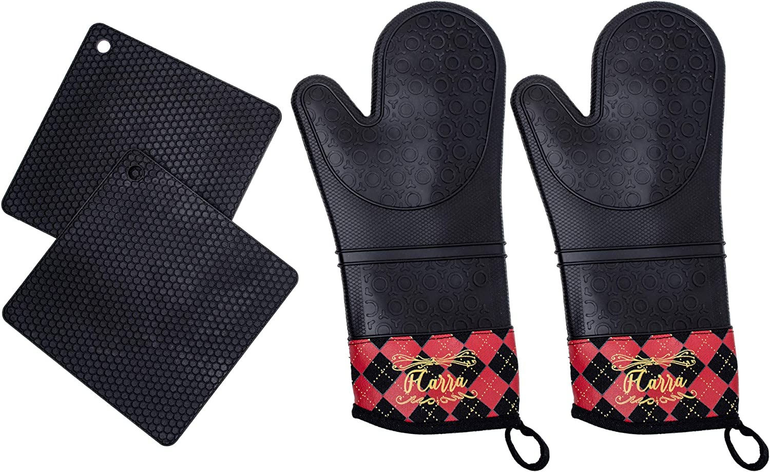 FCARRA Premium Silicone Oven Mitts and Potholders Heat Resistant 4-Piece Set Non Slip Grip-Extra Long Length
