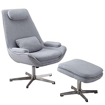 FineBuy Relaxsessel SILAN Stoff Grau 74x105,5x81cm Design ...