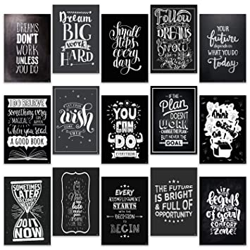 15 Set Motivational Posters For Classroom Decorations Chalkboard Home Room Office Inspirational Quotes Wall Decor Black White Pictures 13 X 19