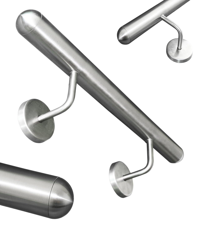 Edelstahl Handlauf V2A 42,4mm 240K geschliffen Wandhandlauf mit runder Endkappe Halbkugel UNGETEILT 2500 mm