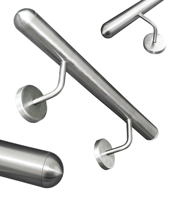Edelstahl Handlauf V2A 42,4mm 240K geschliffen Wandhandlauf geteilt mit leicht gew/ölbter Endkappe 3100 mm