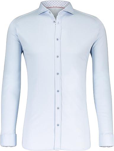 DESOTO Camisa de manga larga para hombre con cuello de tiburón, no necesita planchado.