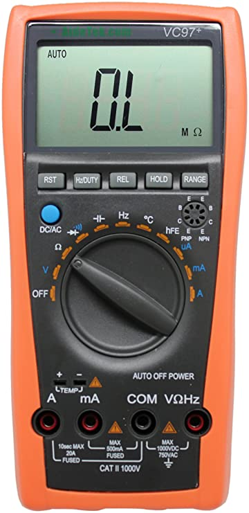 AideTek VC97+ Digital Auto Range Multimeter Tester Capacitor Amp Voltage AC DC Temp Diode Buzz Frequency: Amazon.es: Bricolaje y herramientas